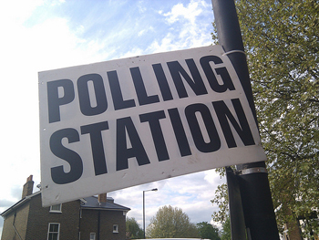 Polling station sign 350