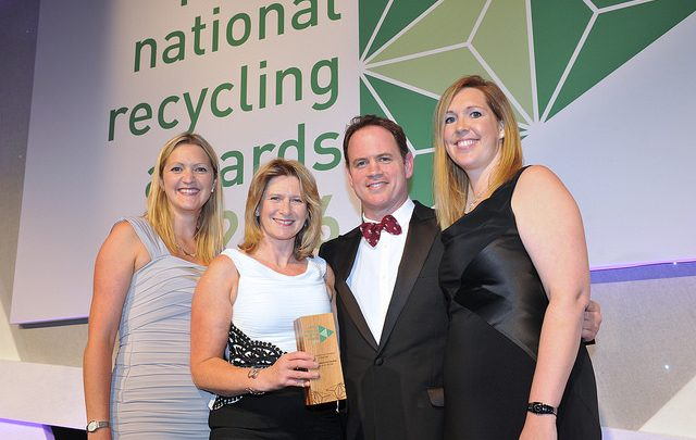 Karyn Punchard, Director of DWP (2nd from left) and Gemma Clinton, interim Head of Strategy, DWP (far right) with representatives from the National Recycling Awards