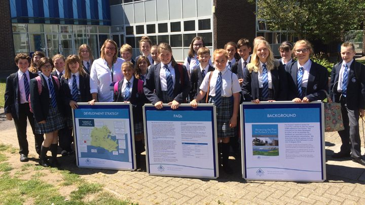 Cllr Miller with Purbeck School students