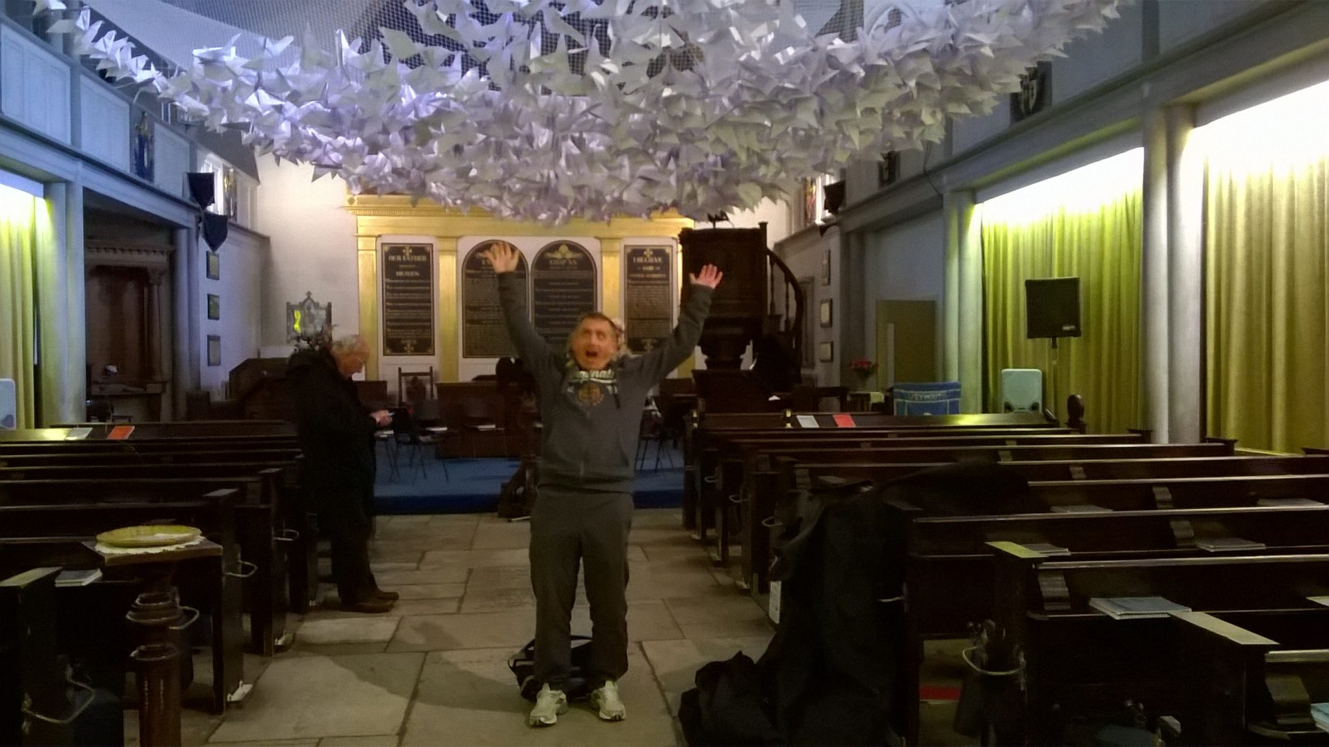 paper doves in church