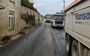 Resurfacing Bridport Road in Dorchester