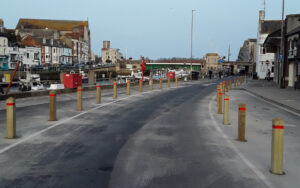 Custom House Quay temporary layout with parking removed