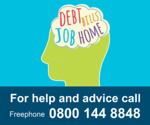 head graphic containing the words debt, bills, job, home plus for help and advice call freephone 0800 144 8848