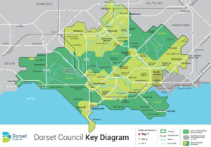 Map of Dorset showing hierarchy of establishments